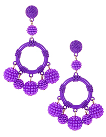 Fashion Purple Full Pearls Decorated Round Shape Earrings
