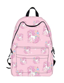 Fashion Pink Unicorn Pattern Decorated High-capacity Backpack