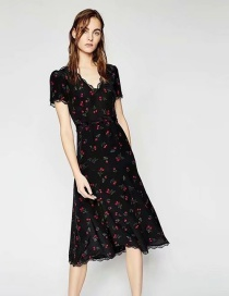 Elegant Black Cherry Pattern Decorated V Neckline Dress