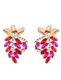 Elegant Red Leaf Decorated Hollow Out Earrings
