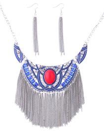 Elegant Blue Long Tassel Decorated Jewelry Sets