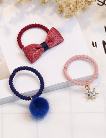 Lovely Claret Red Bowknot&diamond Decorated Child Hair Band(3pcs)