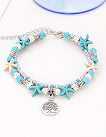 Fashion Blue Leaf&starfish Decorated Double Layer Bracelet