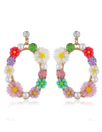 Elegant Multi-color Flowers&pearls Decorated Round Shape Earrings