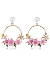 Elegant Pink Flowers Decorated Round Shape Earrings