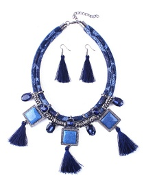 Elegant Blue Tassel&diamond Decorated Jewelry Sets