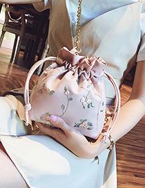 Fashion Pink Flowers Decorated Bucket Shape Shoulder Bag