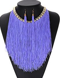 Fashion Blue Tassel Decorated Jewelry Sets