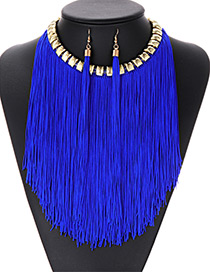 Fashion Sapphire Blue Tassel Decorated Jewelry Sets