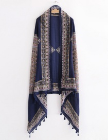 Fashion Navy Flower Pattern Decorated Shawl