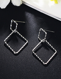 Fashion Silver Color Rhombus Shape Decorated Earrings
