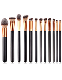 Fashion Black Round Shape Decorated Makeup Brush(12pcs)