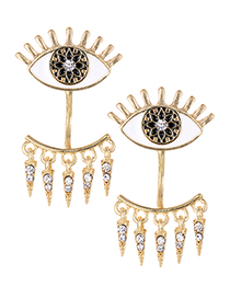 Fashion White Eye Shape Decorated Earrings
