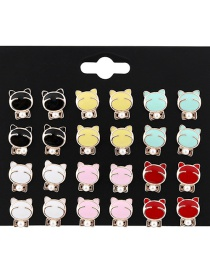 Fashion Multi-color Cats Shape Decorated Earrings Sets(12 Pairs)
