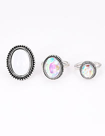 Fashion Silver Color Oval Shape Decorated Rings(3pcs)