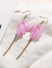 Fashion Purple Flower Shape Decorated Tassel Earrings