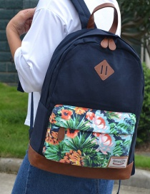 Fashion Navy Flower Pattern Decorated Backpack