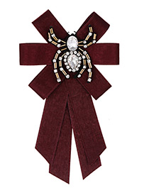 Fashion Claret Red Spider Shape Decorated Bowknot Brooch