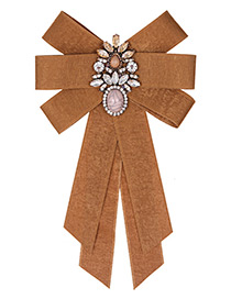 Fashion Brown Water Drop Shape Decorated Bowknot Brooch