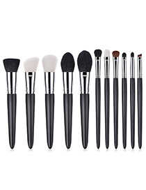 Fashion Black Round Shape Decorated Makeup Brush (11 Pcs )