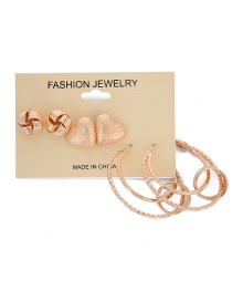 Fashion Gold Color Heart Shape Decorated Earrings (6 Pcs )