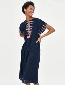 Fashion Navy Tassel Decorated Embroidery Dress