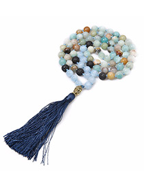 Vintage Sapphire Blue Bead&tassel Decorated Necklace