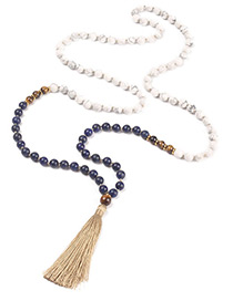 Fashion Khaki Tassel&bead Decorated Necklace
