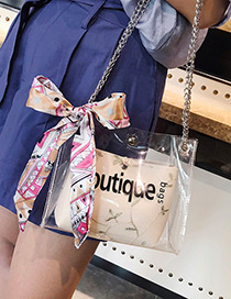 Fashion Beige Letter Pattern Decorated Shoulder Bag