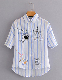 Fashion Blue Stripe Pattern Decorated Shirt