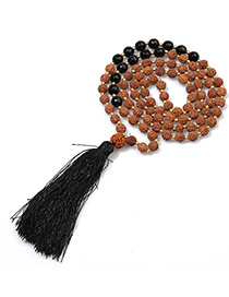 Fashion Black+brown Tassel&bead Decorated Necklace