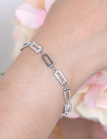 Fashion Silver Color Square Shape Decorated Bracelet