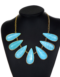 Fashion Blue Water Drop Shape Decorated Earrings