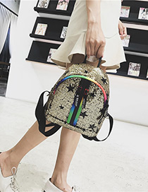 Trendy Gold Color Double Zippers Decorated Casual Backpack