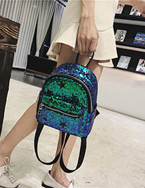 Trendy Green Sequins Decorated Pure Color Backpack