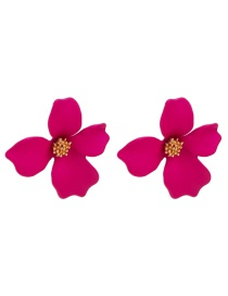 Elegant Plum Red Flower Shape Design Pure Color Earrings