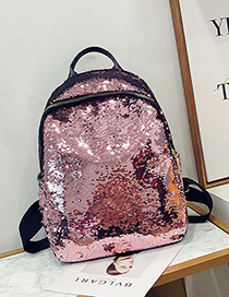 Elegant Pink Sequins Decorated Pure Color Backpack