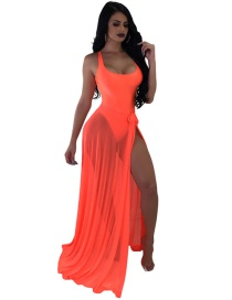 Sexy Orange Pure Color Design Swimwear With Smock(2pcs)