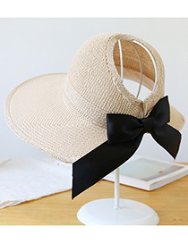 Trendy Beige Pure Color Decorated Bowknot Design Sunscreen Hat