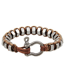 Fashion Brown Circular Rings Decorated Bracelet