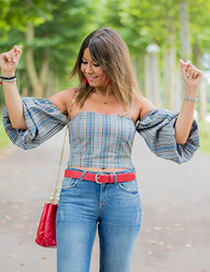 Sexy Gray+blue Stripe Pattern Decorated Off Shoulder Blouse