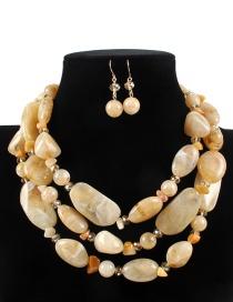 Elegant Khaki Irregular Shape Design Multi-layer Jewelry Sets