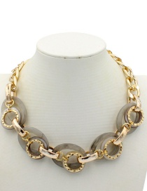 Elegant Gray Round Shape Design Simple Necklace