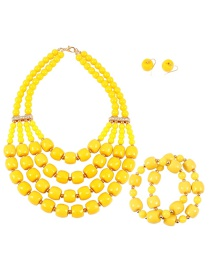 Elegant Yellow Pure Color Design Multi-layer Jewelry Sets