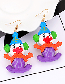 Lovely Orange+purple Clown Shape Design Long Earrings