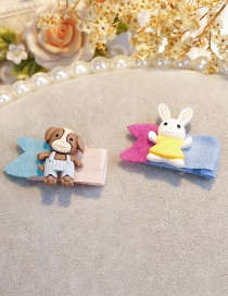 Lovely Coffee+yellow Rabbit&dog Shape Design Child Hair Clip(2pcs)