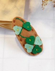 Lovely Green+coffee Heart Shape Decorated Child Hair Clip(1pc)