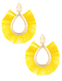 Fashion Yellow Tassel Decorated Hollow Out Earrings