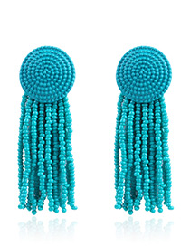 Elegant Blue+green Beads Decorated Simple Tassel Earrings