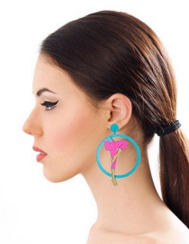 Fashion Blue+pink Legs Shape Decorated Long Earrings